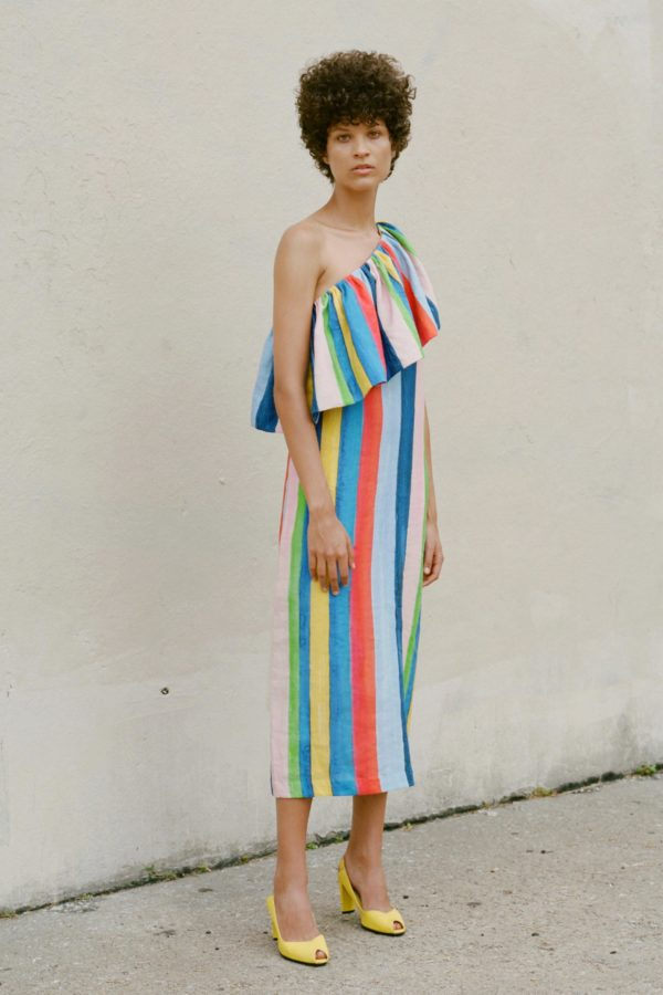 Rainbow stripes! Dress by Mara Hoffman SS17.