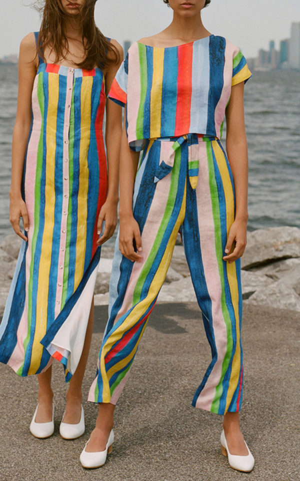 Mara Hoffman stripe rainbow high waist paints.